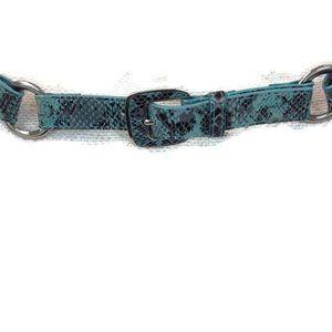 VIA SPIGA Leather Turquoise Snake Belt